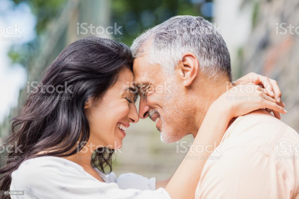 Close-up of couple embracing stock photo