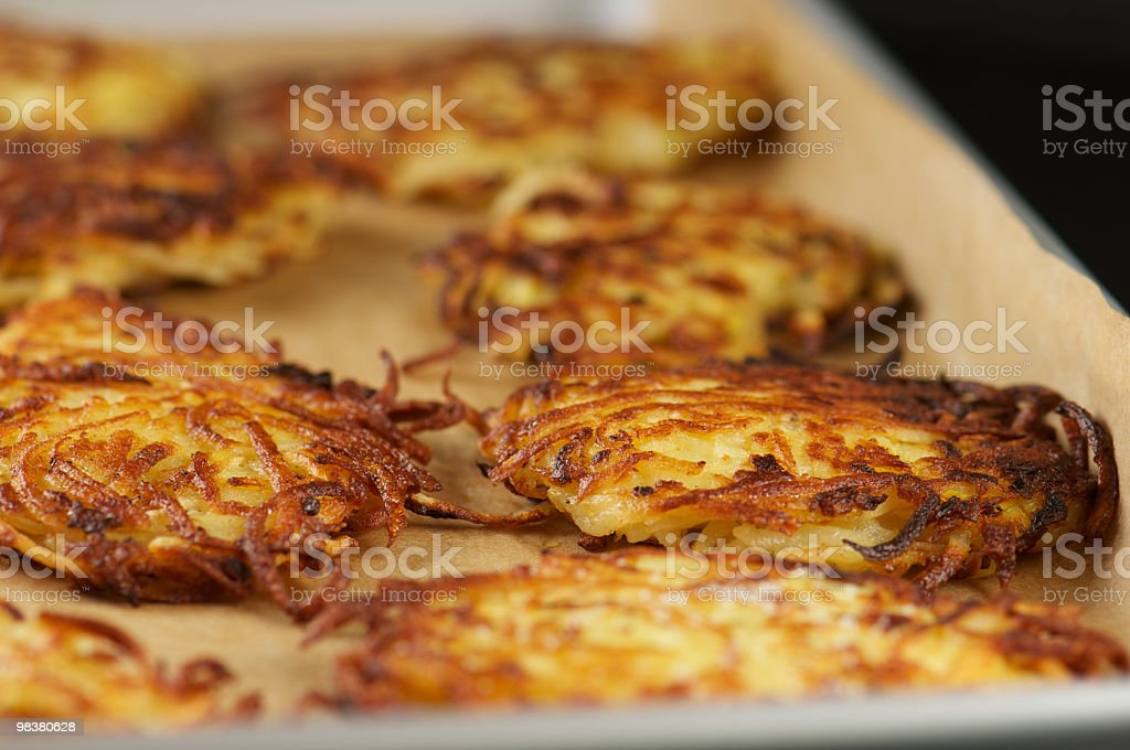 Close-up of crispy potato latkes in a tray royalty-free stock photo