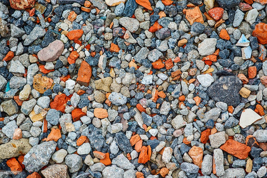 Closeup of crushed brick and concrete texture stock photo