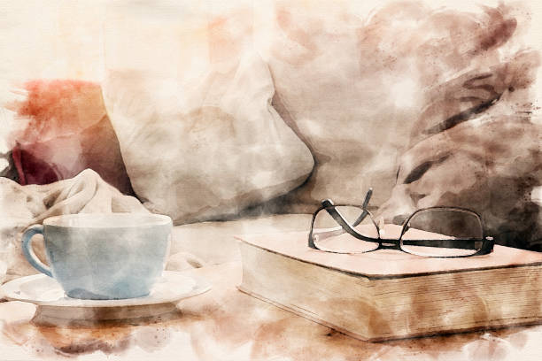 closeup of cup and book with eyeglasses on table in watercolors closeup of cup and book with eyeglasses on table in watercolors literature stock pictures, royalty-free photos & images