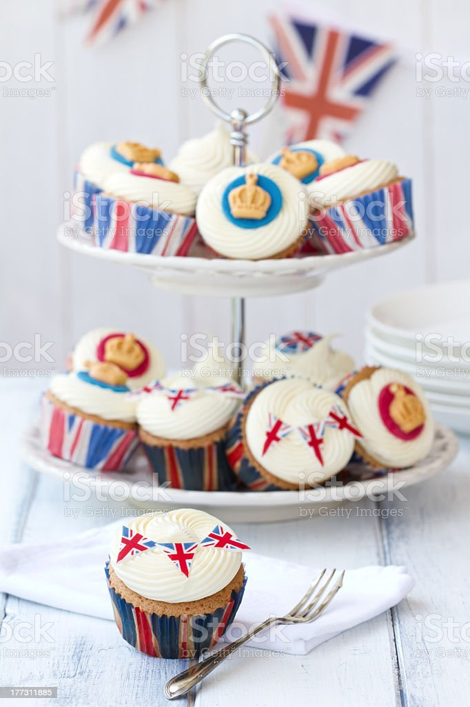 Close-up of cupcakes with Royal Jubilee decorations stock photo