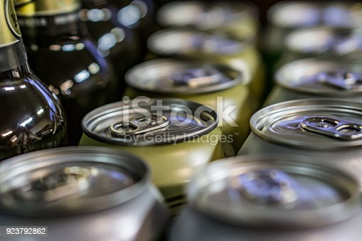 istock Close-up of cups and beer bottles in a shop. Shallow depth of focus. 923792862