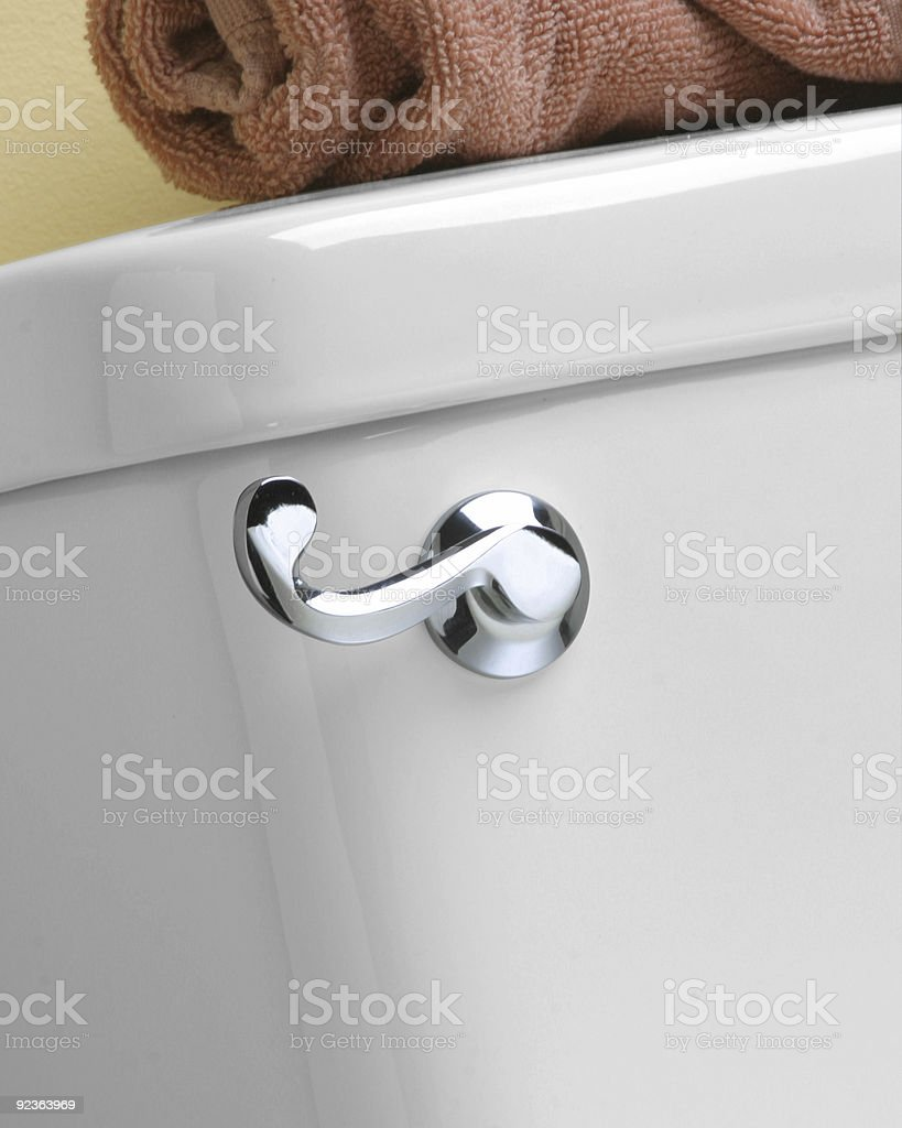 Close-up of Curved, chrome toilet handle stock photo