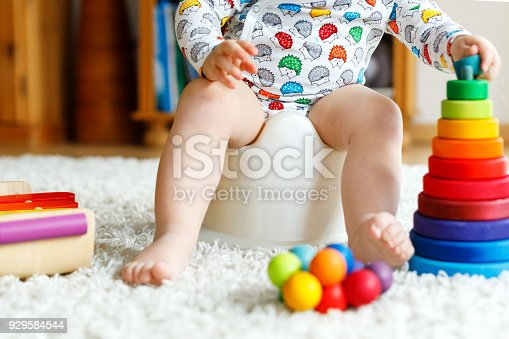 istock Closeup of cute little 12 months old toddler baby girl child sitting on potty. 929584544