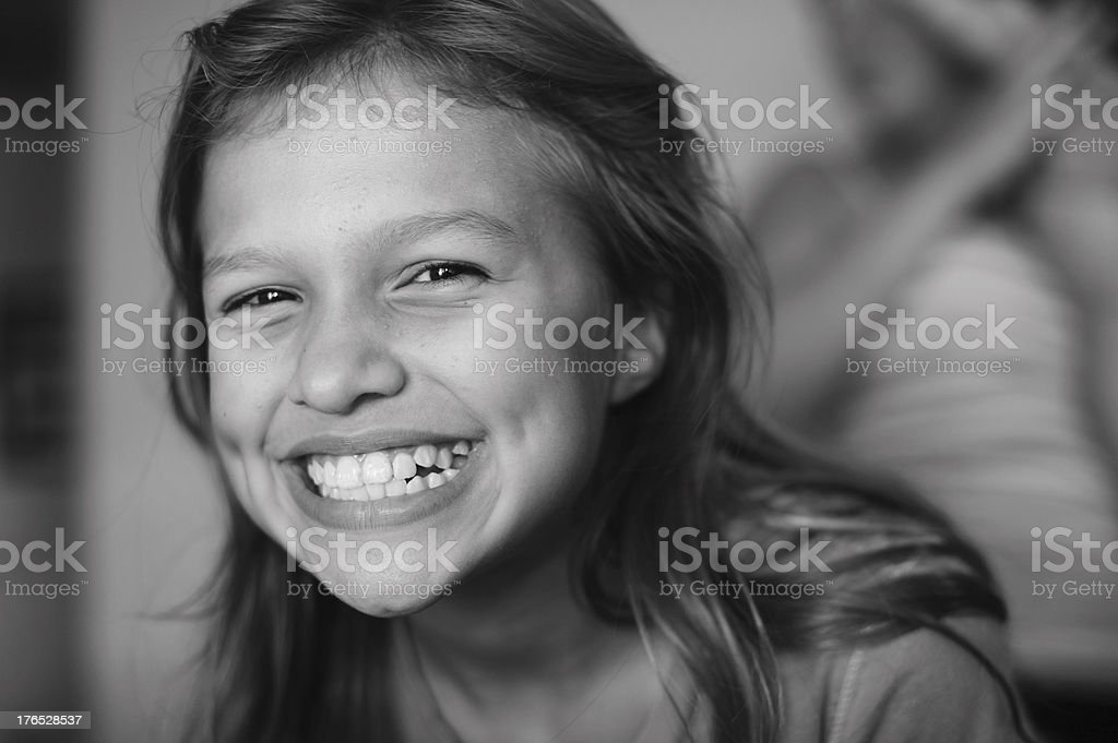 Closeup of Cute Mexican Girl With Dimples Smiling royalty-free stock photo