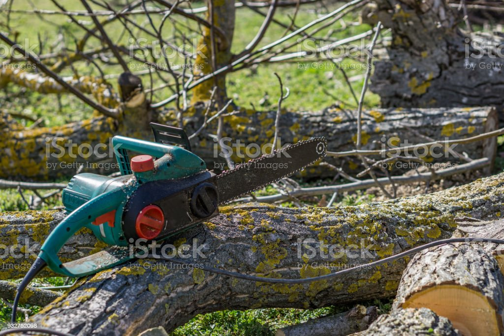 Close-up of cutting wood with electric saw, hobby machine. Shallow depth of focus. Concept farming.'n stock photo