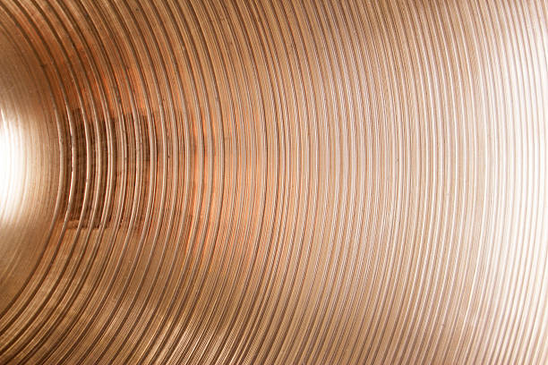closeup of cymbal - cimbaal stockfoto's en -beelden