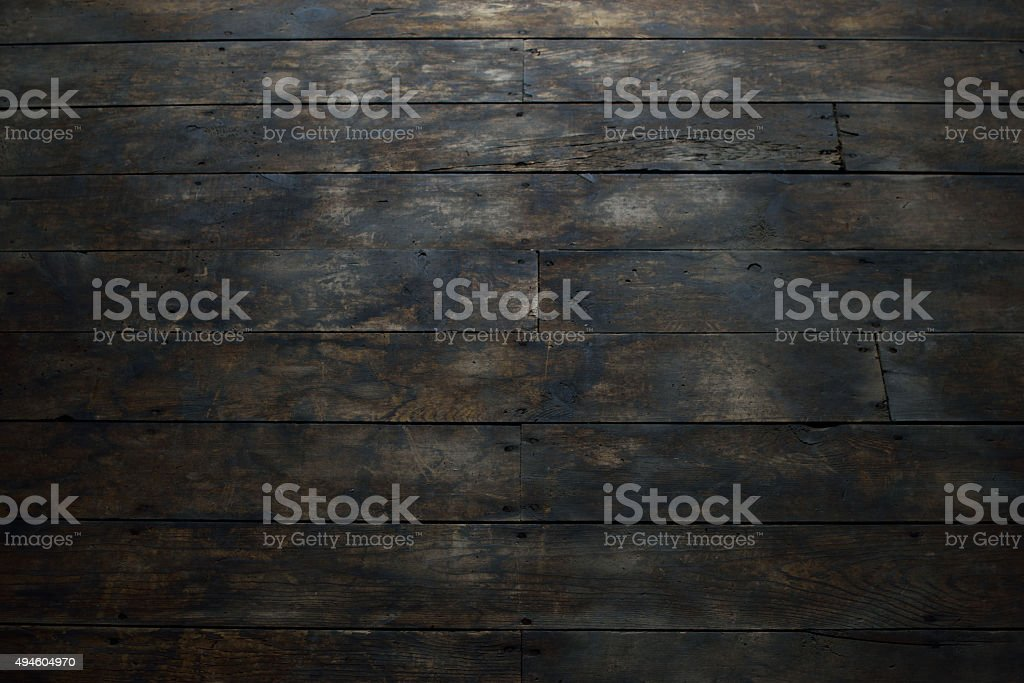 Closeup of Damaged Wood Plank Flooring stock photo