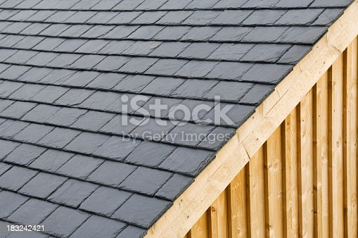 Roof slates on a timber building.