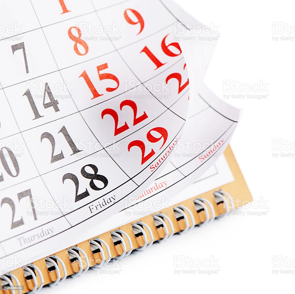 Closeup of dates on calendar page royalty-free stock photo