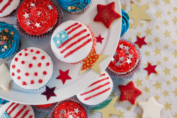 Close-up of decorated cupcakes Close-up of decorated cupcakes with 4th july theme 4th of july senior citizen stock pictures, royalty-free photos & images