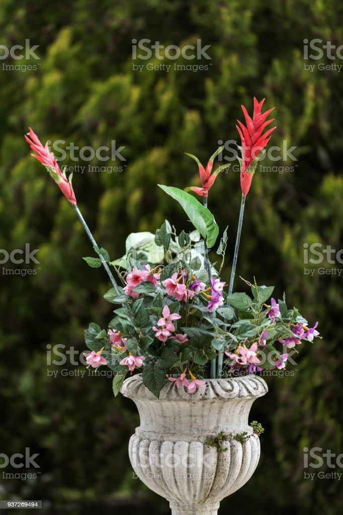 Close Up Of Decorative Garden Flowers In Marble Pot Royalty Free Stock Photo