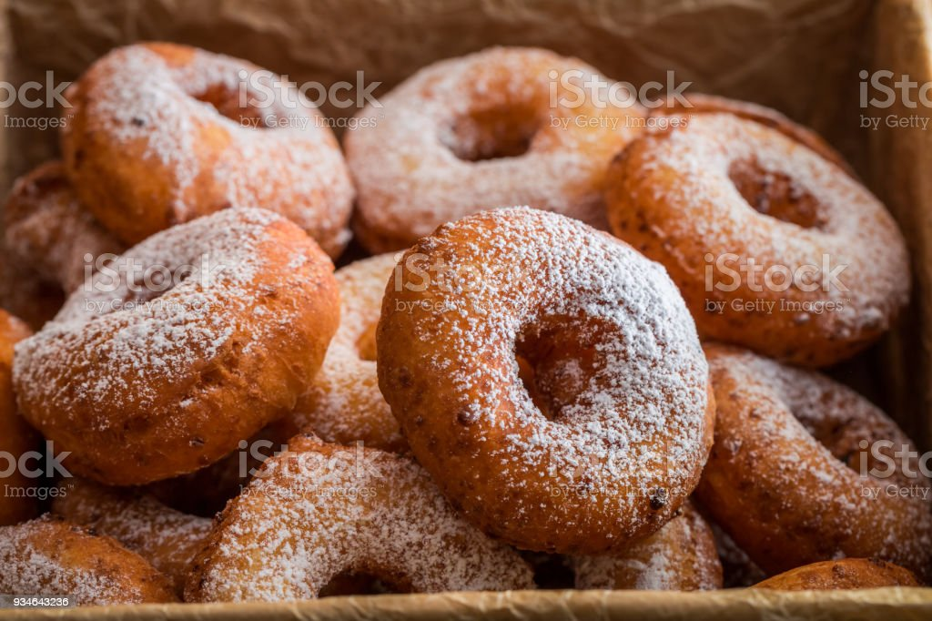 Closeup of delicious homemade donuts ready to eat stock photo