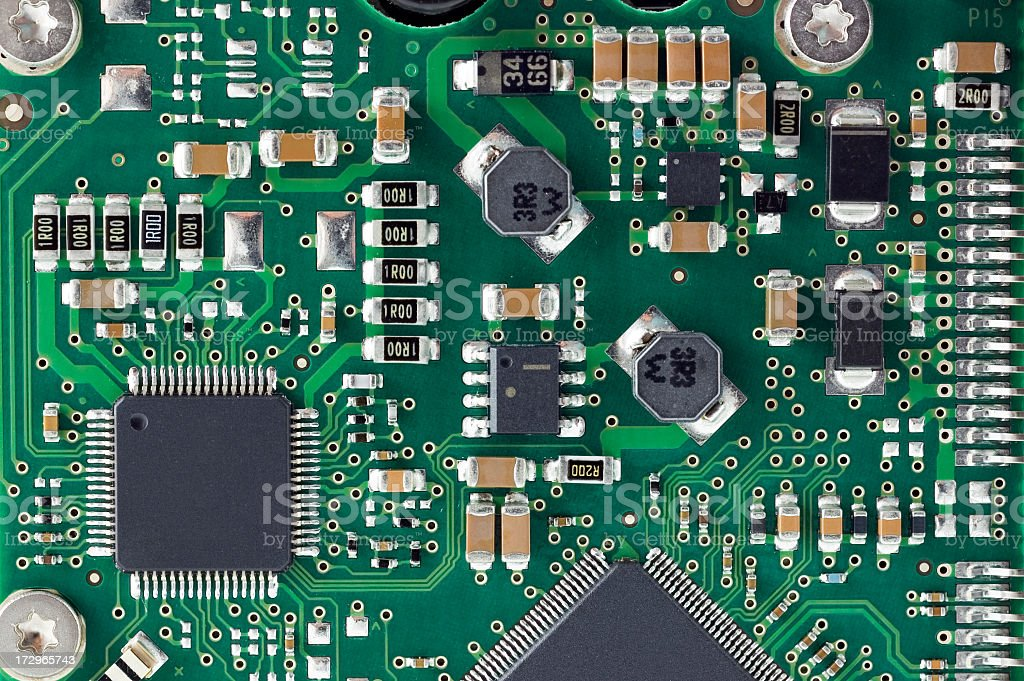 Closeup of details on a circuit board stock photo