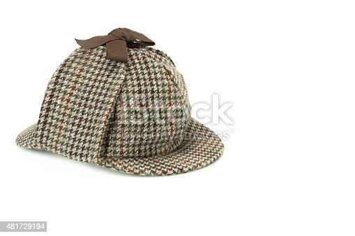 Close-up of Sherlock Holmes Deerstalker Cap Isolated Isolated On White Background.