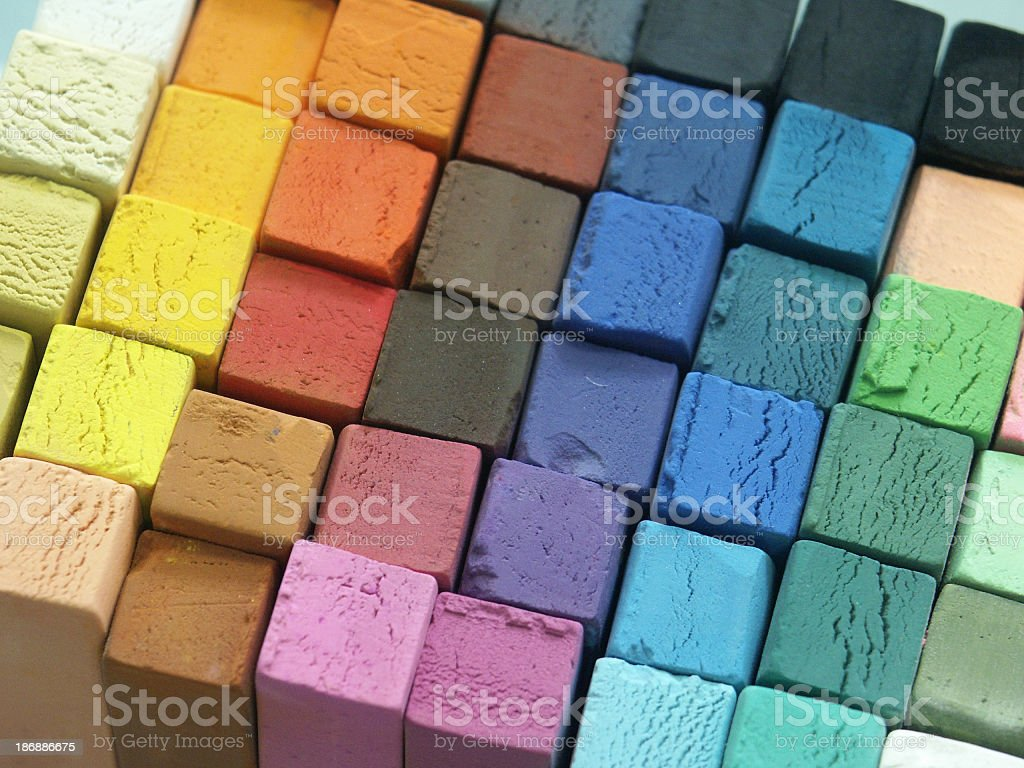 A close-up of different blocks of colored pastels royalty-free stock photo