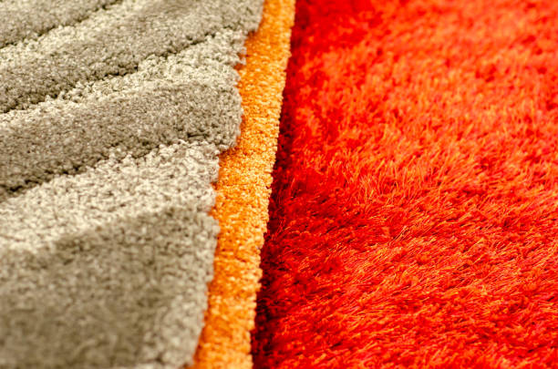 Close-up of different colored carpet stock photo