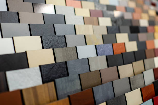 Close-up of different tiles texture stock photo