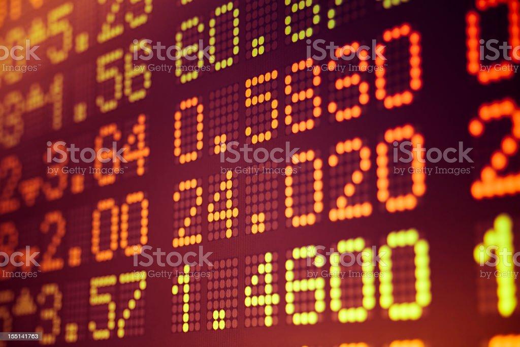 Close-up of digital board displaying stock data royalty-free stock photo