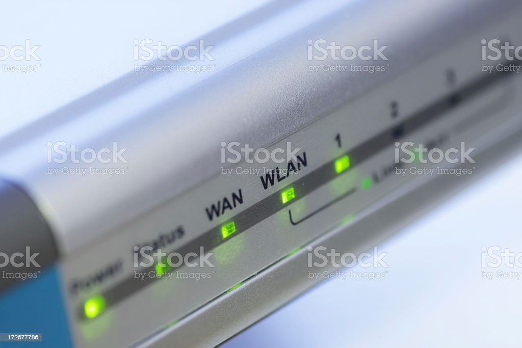 Close-up of display screen of a internet router royalty-free stock photo