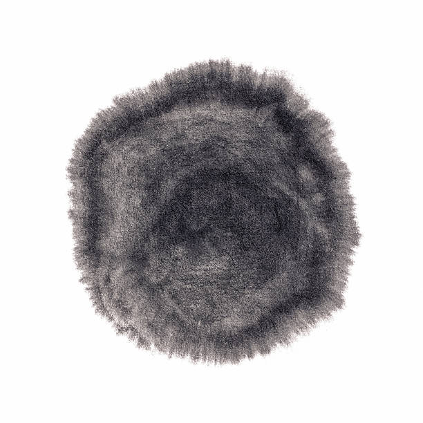 Close-up of drops of ink absorbed in blotting paper Handmade  circle drawing ink black brush sketch on isolated white blotting paper stock pictures, royalty-free photos & images