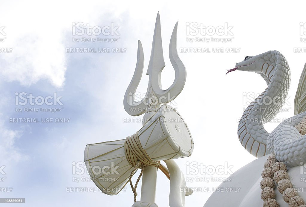 Closeup of drum & trident of  Lord Shiva stock photo