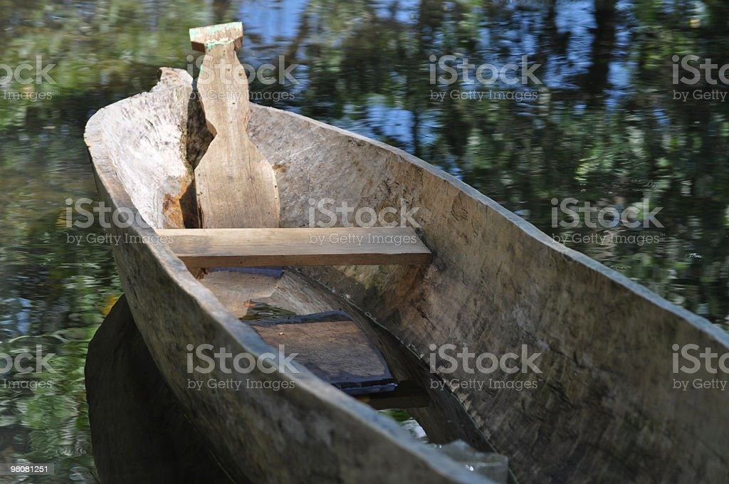 Closeup of dugout canoe and paddle in Panama Jungle stock photo