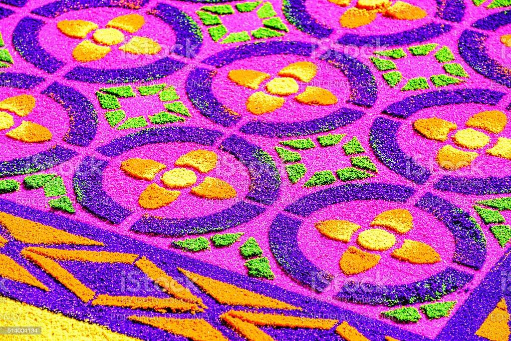 Closeup of dyed sawdust Lent carpet, Antigua, Guatemala stock photo