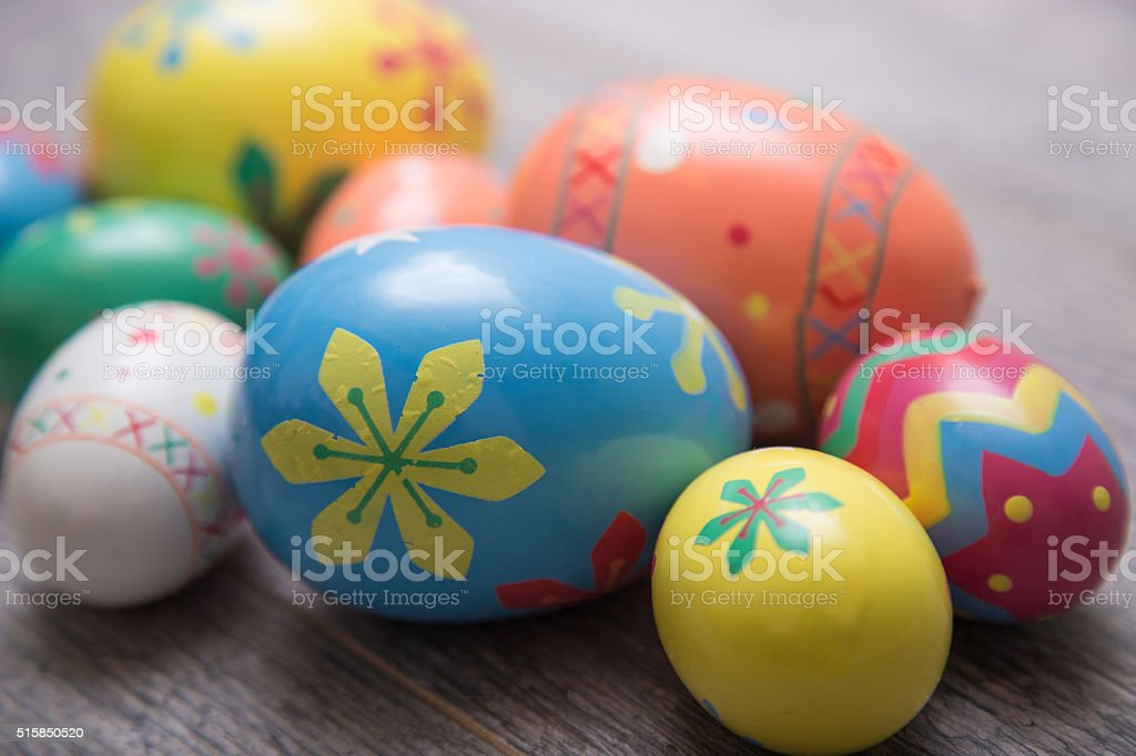 Close-up of Easter Eggs on Old Wood stock photo