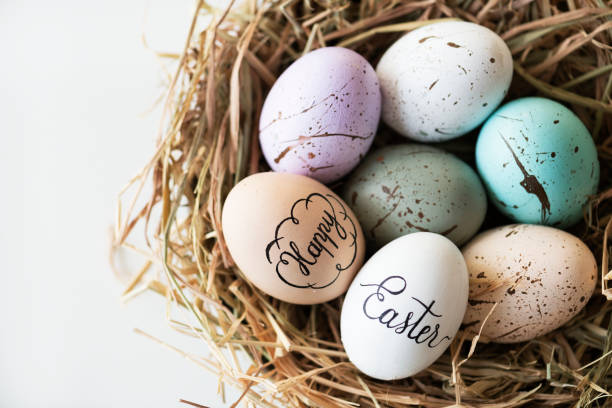 closeup of easter eggs - easter stock pictures, royalty-free photos & images