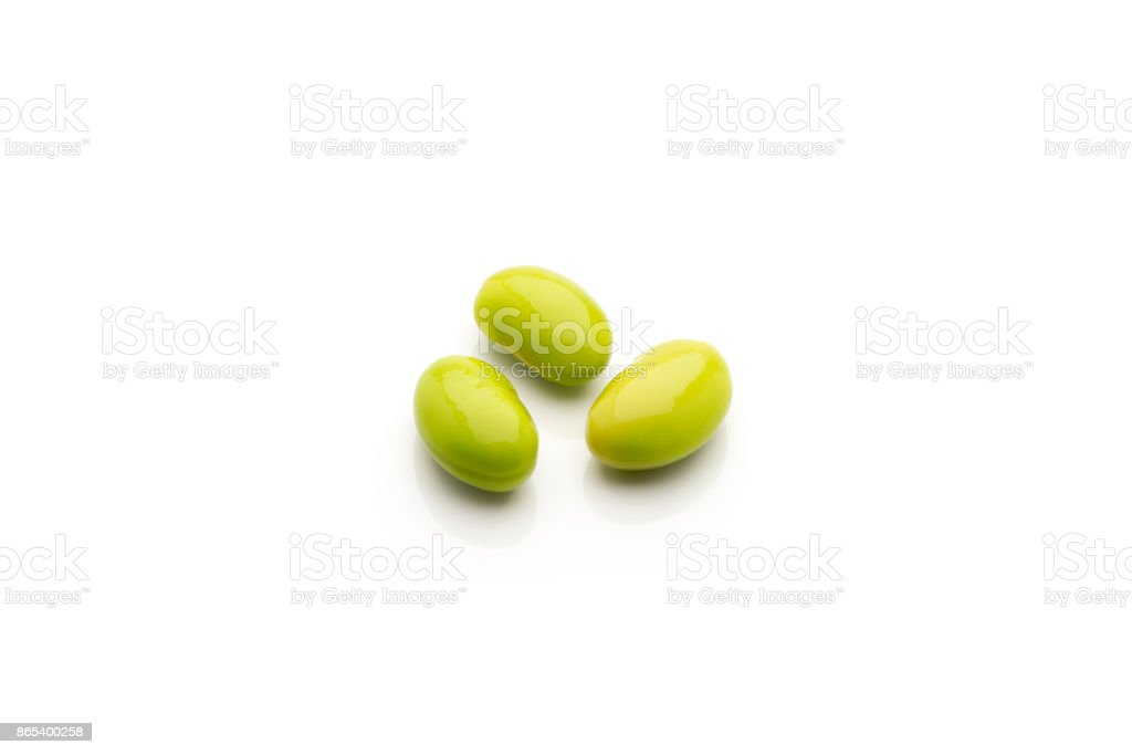 Close-up of Edamame or Soy Beans Isolated on White Background stock photo