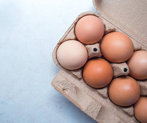 Close-up of Eggs in an Egg Box/Carton stock photo