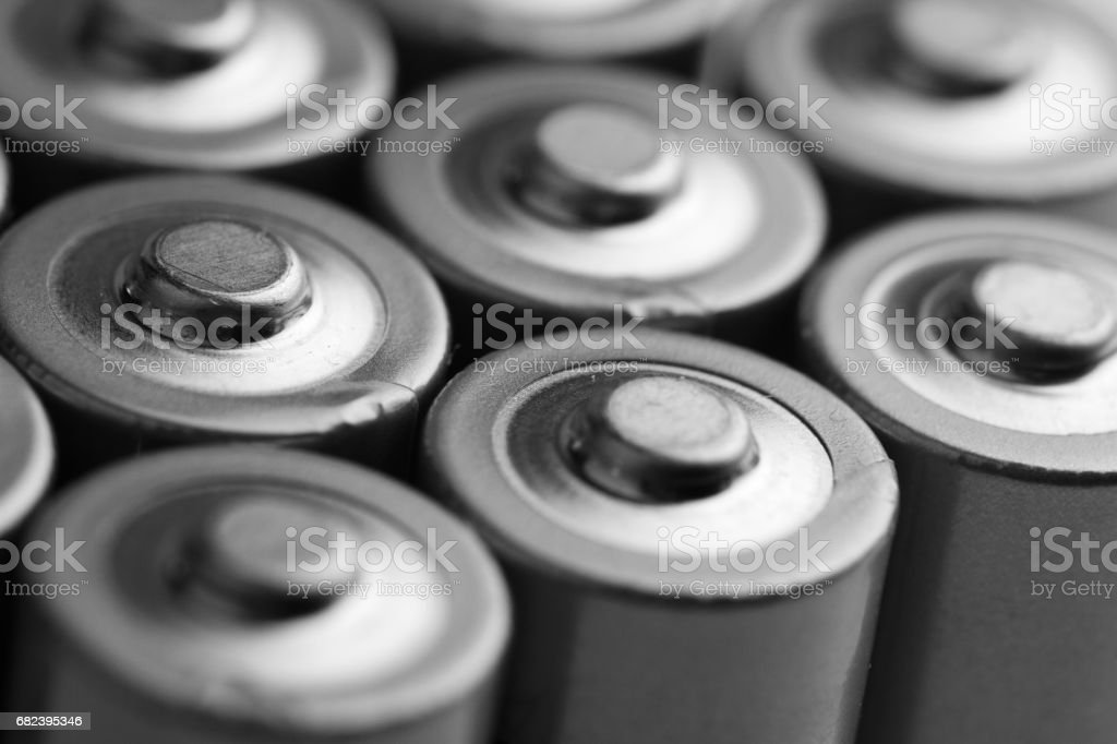 closeup of electric batteries stock photo
