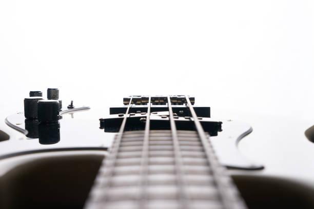 Close-up of electric classical bass guitar stock photo