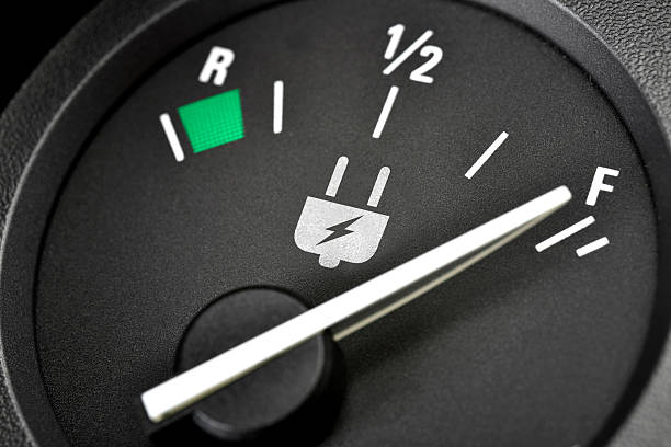 Close-up of electric vehicle batter gauge stock photo
