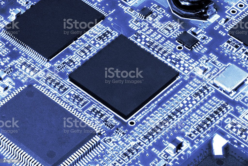 Close-up of electronic circuit board. Macro . royalty-free stock photo