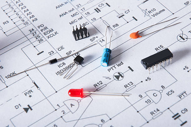 Close-up of electronic componets on scheme stock photo