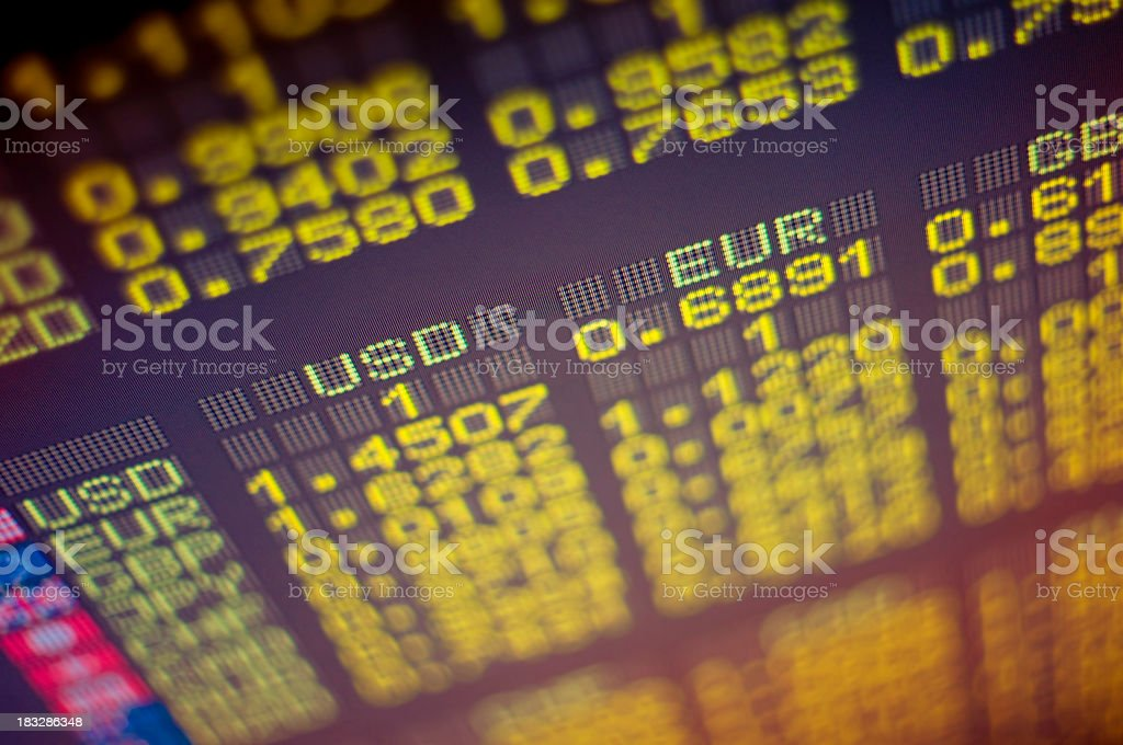 Close-up of electronic stock exchange board royalty-free stock photo