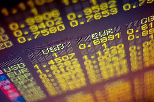 Close-up of electronic stock exchange board stock photo