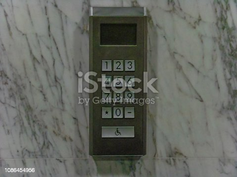 istock Close-Up Of Elevator Button. 1086454956