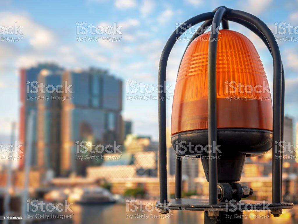 Closeup of emergency warning lamp stock photo