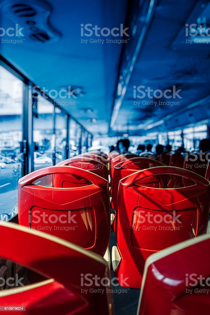 Close-Up Of Empty Seats Of Bus - foto de stock