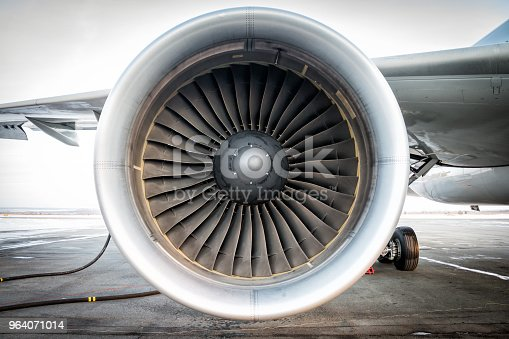 Close-up of engine of aircraft