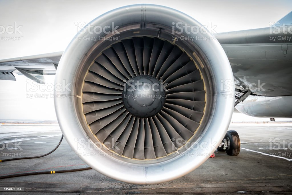 Close-up of engine of aircraft stock photo