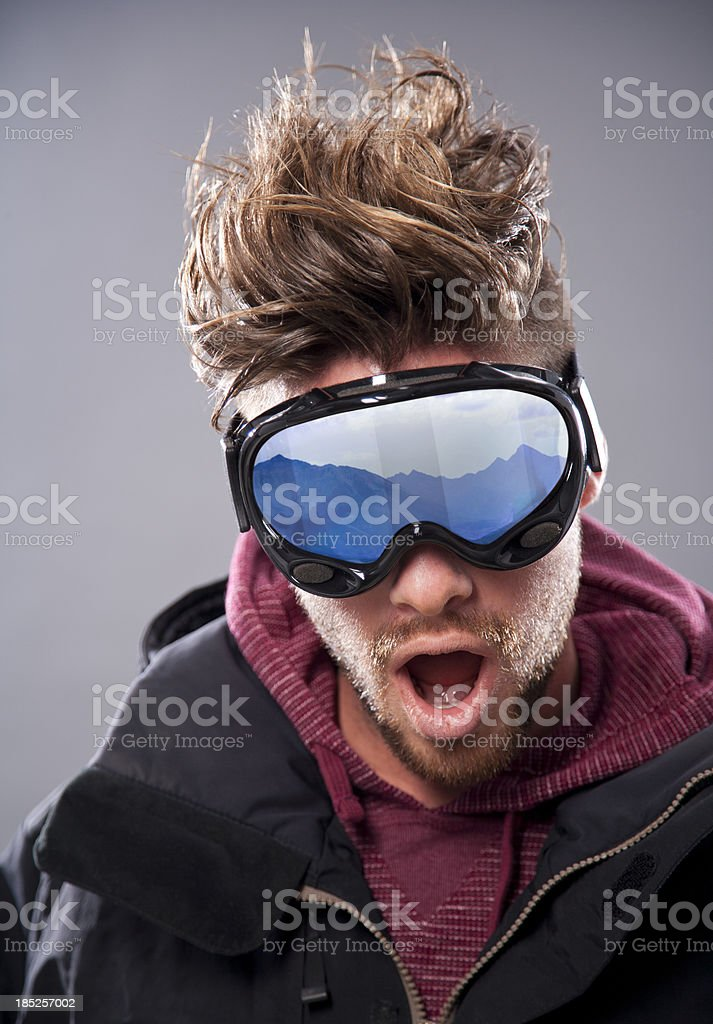 Closeup of Excited Skier with Goggles stock photo