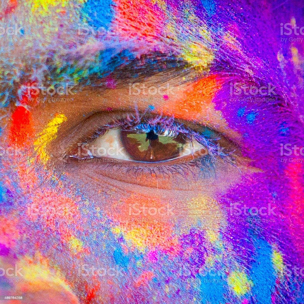 Close-up of Eye at Holi Festival stock photo