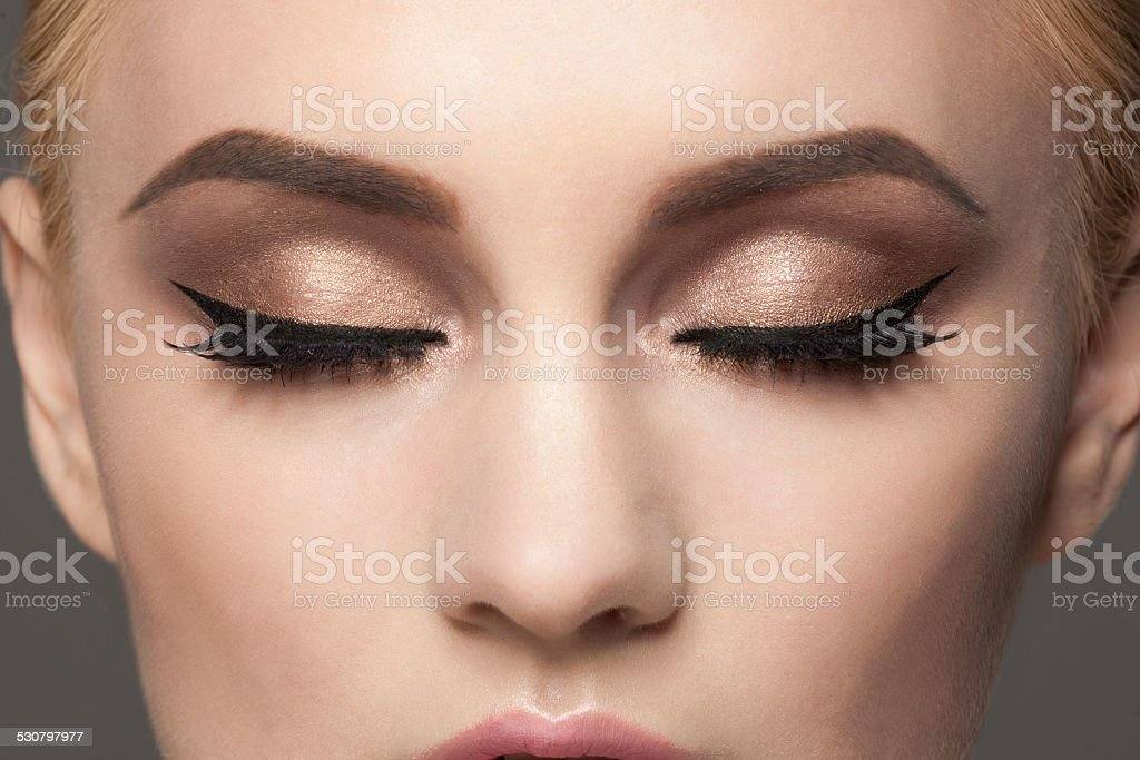 Closeup of eye makeup stock photo