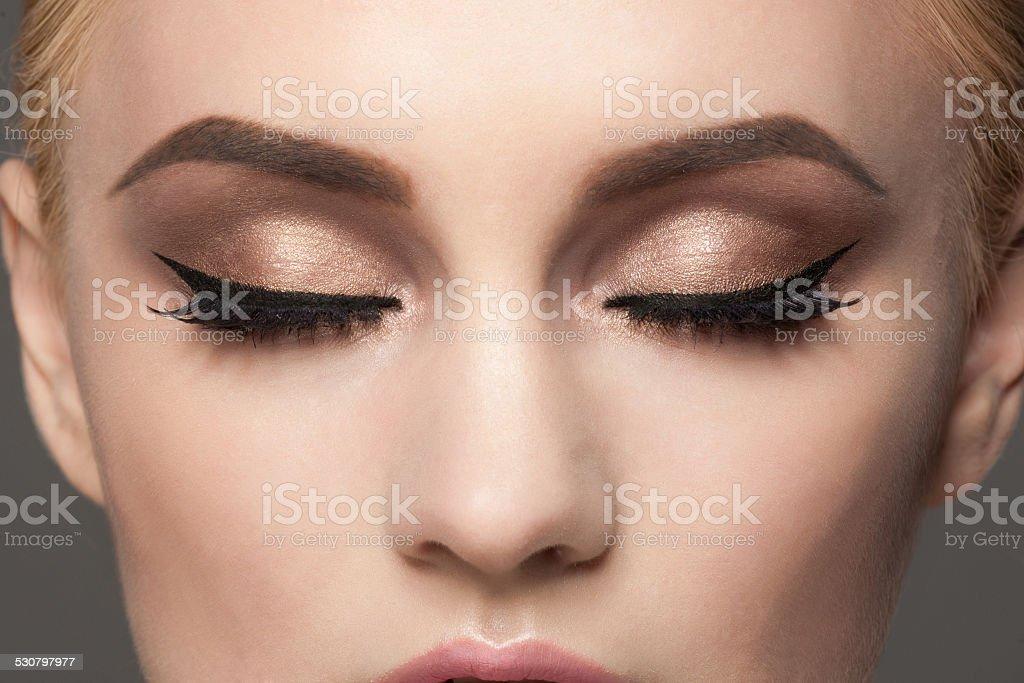 Closeup of eye makeup stock photo