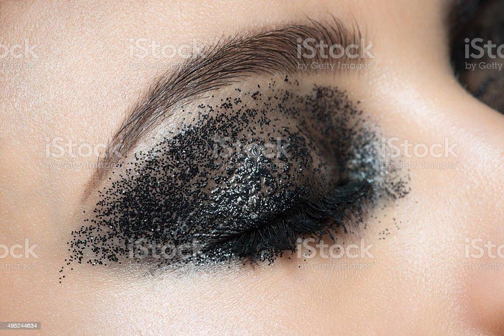 Closeup of eye with makeup stock photo