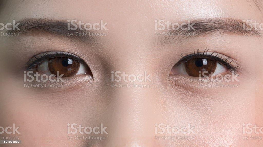 Close-up of eyes Asian women stock photo